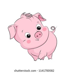 Cute little pig. Cartoon vector character. Children illustration