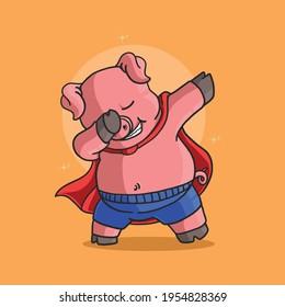 cute little pig dabbing dance celebration illustration