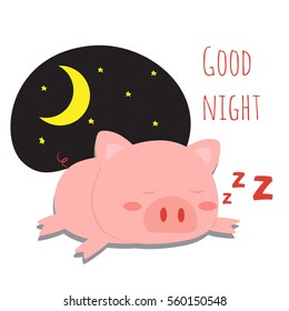 cute little pig sleeping with good night text vector illustration