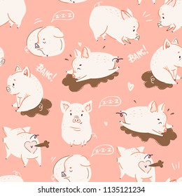 Cute little piggies. Colored vector seamless pattern. Pink background