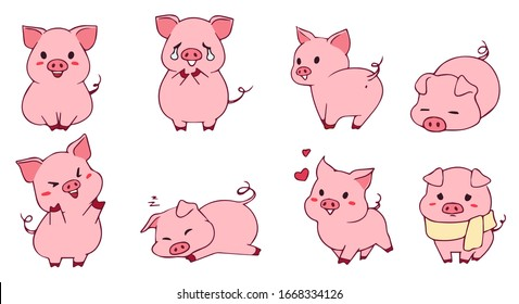 Cute little piggy set. Hand drawn vector illustration. Funny emoji. Isolated on white background.