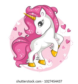 Cute little pink  magical unicorn. Vector design on white background. Print for t-shirt. Romantic hand drawing illustration for children.