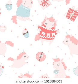 Cute little pink unicorn hand drawn illustration seamless pattern. Wrapping paper, fabric, wallpaper, background  design. Valentines day, baby shower, cute hello girl room decor elements