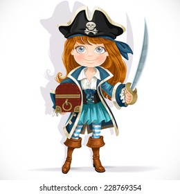 Cute little pirate girl with cutlass and treasure chest isolated on a white background