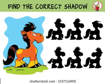 Cute little pony. Find the correct shadow. Educational matching game for children. Cartoon vector illustration