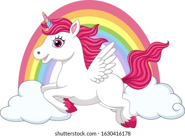 Cute little pony unicorn with wings on clouds and rainbow