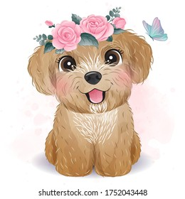 Cute little Poodle with floral illustration