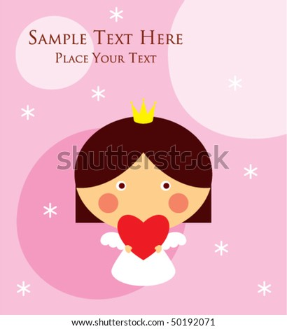 Cute little princess angel birthday greeting stock vector royalty cute little princess angel birthday greeting card m4hsunfo