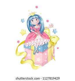 A cute little princess with blue hair in a pink dress is sitting on a big gift box. A gift with a beautiful yellow bow and star pattern. Vector cartoon illustration for design of greeting card.
