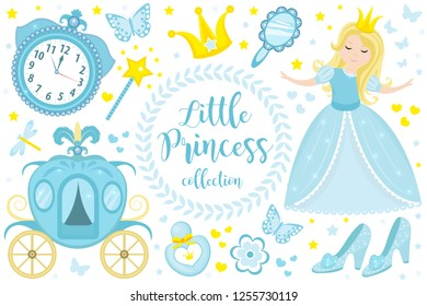 Cute little princess Cinderella set objects. Collection design element with pretty girl, carriage, watch, mirror, accessories. Kids baby clip art funny smiling character. Vector iillustration