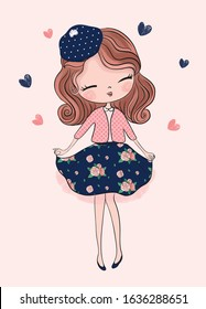 Cute little princess girl. Fashion illustration for kids clothing. Use for print, surface design, fashion wear.