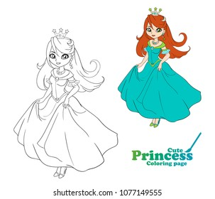 Cute little princess, Hand drawn art. Colorful art for coloring book, fashion, games, cards, diary, notebook, cover. Vector illustration.