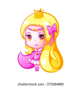 Cute little princess in Japanese anime style