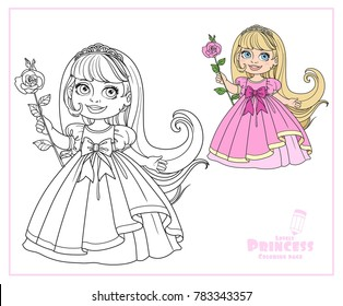 Cute little princess with long hair in tiara color and outlined isolated on white background