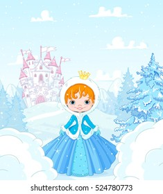 Cute little princess in the snow, standing in front of a magic castle