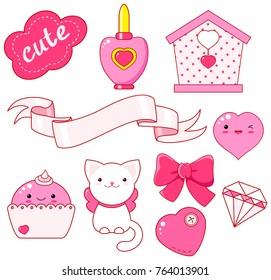 Cute little princess sticker set - cat, heart, nail polish, cupcake, bow, diamond, small house, ribbon, inscription so cute. In pink color. EPS8