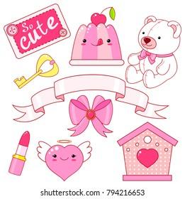 Cute little princess sticker set - Teddy bear, heart, lipstick, jelly with cherry, bow, key, ribbon, inscription so cute. EPS8