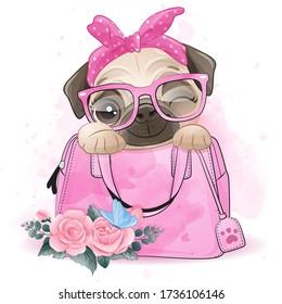 Cute little pug sitting inside the bag