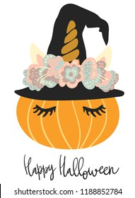 Cute little pumpkin head with unicorn wreath decoration vector art. Flat children scandinavian hand drawn illustration. Graphic design card print. Happy Halloween phrase.
