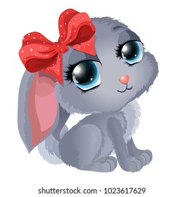 Cute little rabbit with a bow in a cartoon, childish style