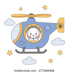 Cute little rabbit boy in a helicopter. Illustration for children print design, kids t-shirt, baby wear and other uses.