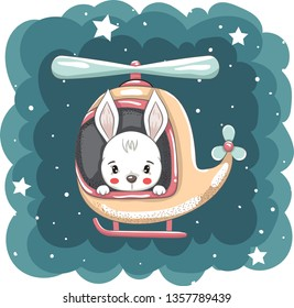 Cute little rabbit flying in helicopter
