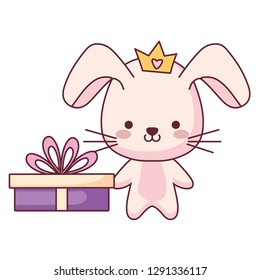 cute and little rabbit with gift