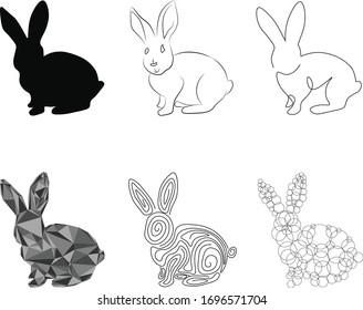 A cute little rabbit in six styles
