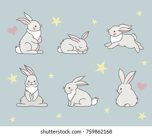 Cute little rabbits collection. Can used for greeting cards, baby shower invitations. Vector nursery illustration.