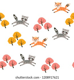 Cute little raccons and foxes jumping in the autumn forest isolated on white snow background in vector. Seamless childish pattern. Print for fabric.