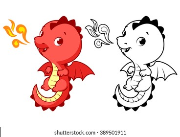 cute little red dragon cartoon vector character isolated on a white background with black outline - Dragon Outline