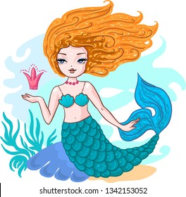 Cute little red hair mermaid with crown and seashells. Book magazine cartoon illustration, fashion artwork, t shirt print