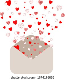 Cute little red hearts fly out of beige envelope, simple vector illustration