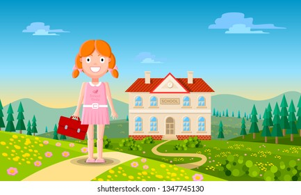 Cute little redhead girl character in casual pink dress is standing on the road and going to school with natural scenery in the background. Cheerful cartoon vector illustration.