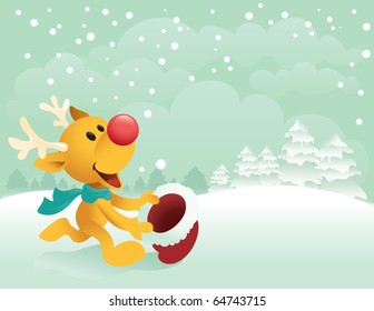 A cute little reindeer trying to catch the first snow with his santa hat. Great spacing for text, and the file is layered for easier editing.