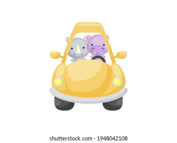 Cute little rhino and hippo driving yellow car. Cartoon character for childrens book, album, baby shower, greeting card, party invitation, house interior. Vector stock illustration.