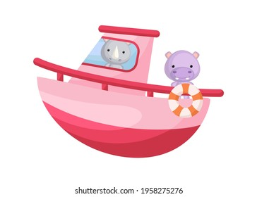 Cute little rhino and hippo sailing on pink ship. Cartoon character for childrens book, album, baby shower, greeting card, party invitation, house interior. Vector stock illustration.