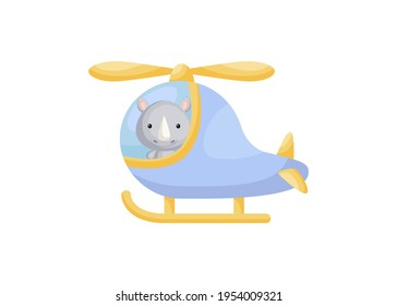 Cute little rhino pilot in blue helicopter. Cartoon character for childrens book, album, baby shower, greeting card, party invitation, house interior. Vector stock illustration.