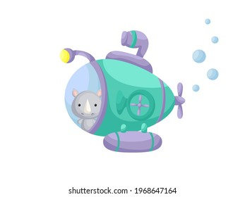 Cute little rhino sail on emerald submarine. Cartoon character for childrens book, album, baby shower, greeting card, party invitation, house interior. Vector stock illustration.