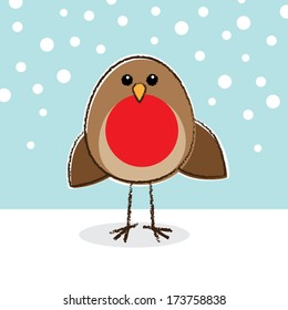 Cute little Robin with a large red breast in front of pale Blue snowing background