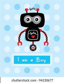 cute little robot birthday arrival card