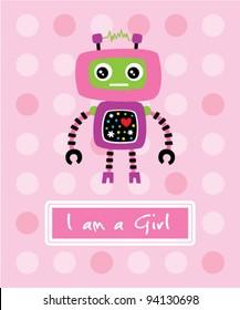 cute little robot birthday arrival card