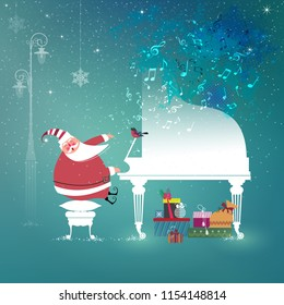 Cute little Santa Claus sings Christmas song and plays Grand Piano. Happy holidays concept. Vector illustration.