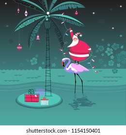 Cute little Santa Claus stands on flamingo decorating palm tree with Christmas ornaments and garland lights. Tropical happy holidays concept. Vector illustration.