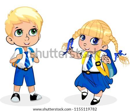 fd05deff8 Cute Little School Girl Boy Wearing Stock Vector (Royalty Free ...