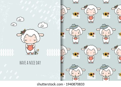 Cute little sheep cartoon card and seamless pattern. Perfect for kids apparel, textile, nursery decoration, fabric, wrapping paper.Hand drawn illustration.