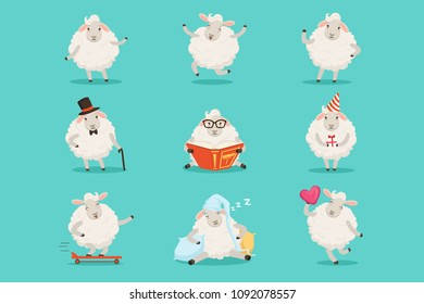 Cute little sheep cartoon characters set for label design. Colorful detailed vector Illustrations isolated on white background