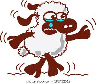 Cute little sheep with dark skin and white wool while walking and bitterly weeping in a tender and sad mood
