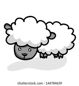 cute little Sheep isolated  illustration on white background