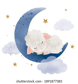 Cute little sheep sleeping on the moon, vector illustration, kids fashion artworks, baby graphics for wallpapers and prints.